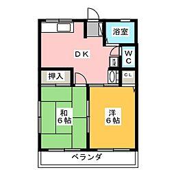 静岡県磐田市竜洋中島の賃貸アパートの間取り