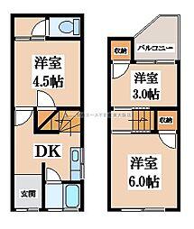 [テラスハウス] 大阪府東大阪市花園西町1丁目 の賃貸【/】の間取り