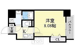 ドゥエリングASAHI 2階1Kの間取り