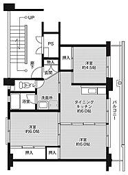 ビレッジハウス大嶺1号棟5階Fの間取り画像
