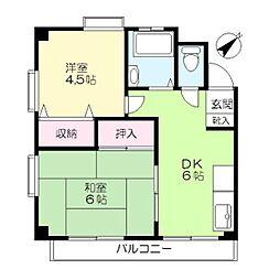 東京都大田区山王2丁目の賃貸アパートの間取り