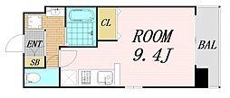Osaka Metro谷町線 野江内代駅 徒歩5分の賃貸マンション 9階ワンルームの間取り