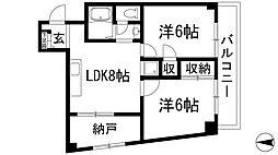 兵庫県川西市多田桜木2丁目の賃貸マンションの間取り