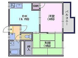 乙木ハイツC[1階]の間取り