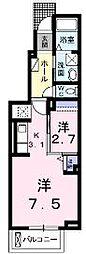 香川県丸亀市土器町北1丁目の賃貸アパートの間取り