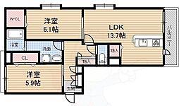 シャーメゾン桜通り 1階2LDKの間取り