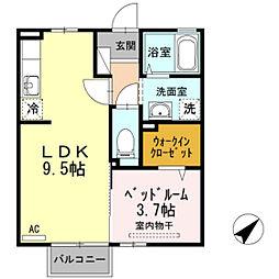 富山県富山市松若町の賃貸アパートの間取り