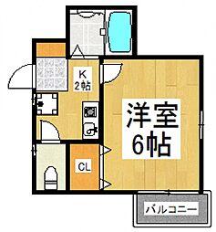 コンフォートベルハウスA棟[2階]の間取り