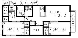 グランポラール[202号室号室]の間取り