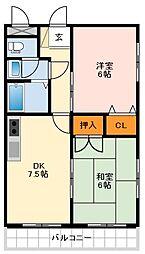 北野田大発マンション 3階2DKの間取り