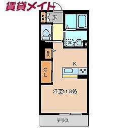 近鉄名古屋線 川越富洲原駅 徒歩3分の賃貸マンション 1階ワンルームの間取り