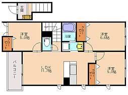 福岡県福岡市南区的場1丁目の賃貸アパートの間取り