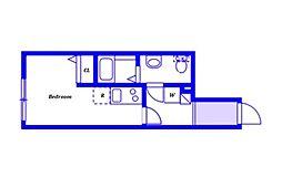 JR横浜線 大口駅 徒歩9分の賃貸アパート 3階ワンルームの間取り