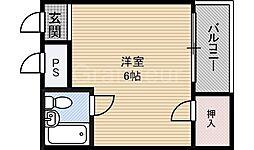 大阪府大阪市城東区今福西5の賃貸マンションの間取り