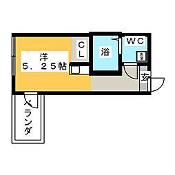 (仮称)鶴見区岸谷2丁目アパートNo.3新築工事 2階ワンルームの間取り