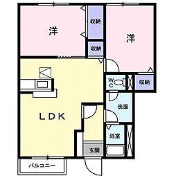 茨城県つくば市天久保3丁目の賃貸アパートの間取り