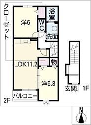 エステート川島II[2階]の間取り