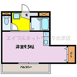 滋賀県大津市浜町の賃貸マンションの間取り