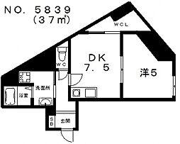 コスタ河堀口[2階]の間取り
