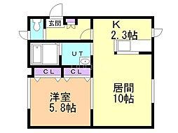 ステイブル東札幌 1階1LDKの間取り