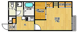JR片町線(学研都市線) 四条畷駅 徒歩6分の賃貸アパート 1階1Kの間取り