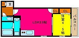 K`s Residence瓢箪山 1階1LDKの間取り