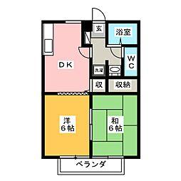 ハイツイシハラ 2階2DKの間取り