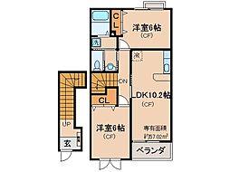 京都府城陽市富野西垣内の賃貸アパートの間取り