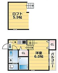 one top 東今里[2階]の間取り