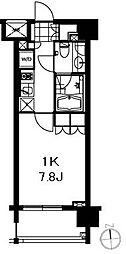 芝ウエスト 5階1Kの間取り