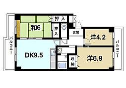 学園西ロイヤルマンションA棟[3階]の間取り