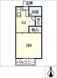 エスティーム天伯 C棟[1階]の間取り