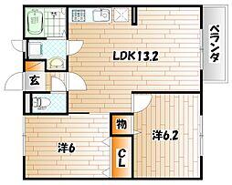 福岡県北九州市小倉南区徳吉西2丁目の賃貸アパートの間取り