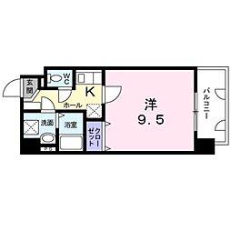 熊本市電B系統 新町駅 徒歩3分の賃貸マンション 4階1Kの間取り