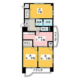 フェリ−チェ勝川[7階]の間取り