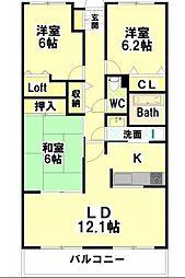 徳島県徳島市南昭和町5丁目の賃貸マンションの間取り