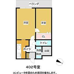 札幌市電2系統 西線16条駅 徒歩7分の賃貸マンション 4階1LDKの間取り