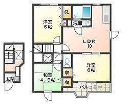 エレガンツァ アロッジオⅠ号館[2階]の間取り