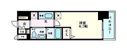 エステムコート梅田天神橋IIIアヴァンテ 5階1Kの間取り