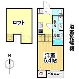 愛知県名古屋市瑞穂区姫宮町1の賃貸アパートの間取り