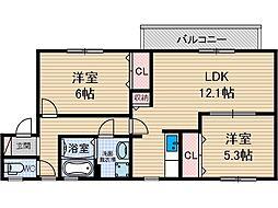 レシェンテ茨木 C棟[2階]の間取り