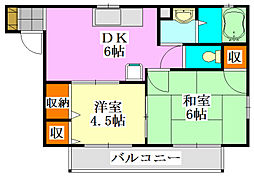 サニーフラットA棟[2階]の間取り