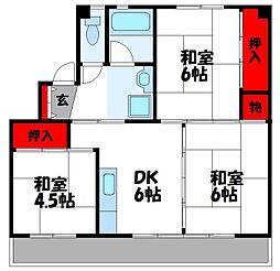 福岡県飯塚市口原の賃貸マンションの間取り