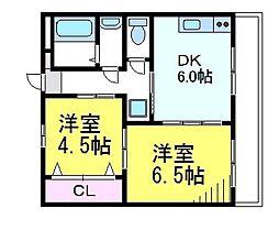 JR中央線 武蔵境駅 徒歩12分の賃貸マンション 3階2DKの間取り