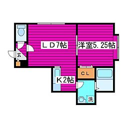 JR学園都市線 篠路駅 徒歩9分の賃貸アパート 2階1LDKの間取り