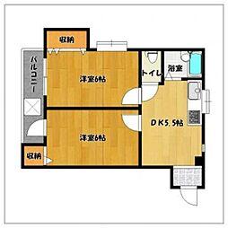 エリーナハイツ西新東II[3階]の間取り