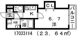 ラグゼ田辺[8階]の間取り