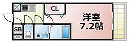 レジュールアッシュOSAKA今里駅前 4階1Kの間取り