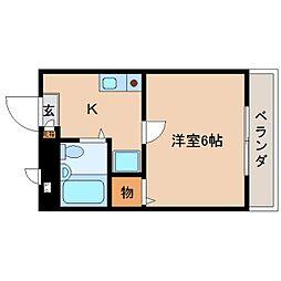 奈良県大和高田市神楽3丁目の賃貸マンションの間取り