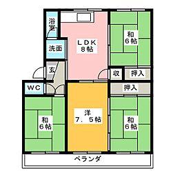 パビリオンながしのB棟[1階]の間取り